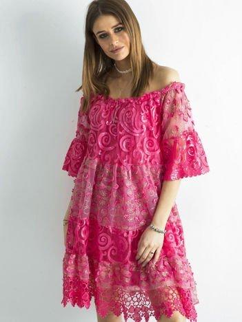 SCANDEZZA Ciemnoróżowa sukienka hiszpanka z koronką