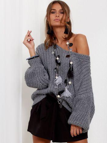 SCANDEZZA Ciemnoszary sweter oversize o luźnym splocie