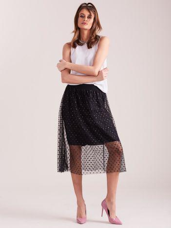 SCANDEZZA Czarna elegancka spódnica z tiulem