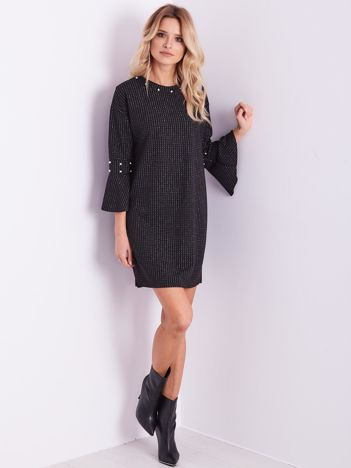 SCANDEZZA Czarna sukienka z błyszczącym wzorem