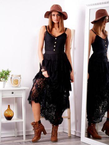 SCANDEZZA Czarna sukienka z falbanami
