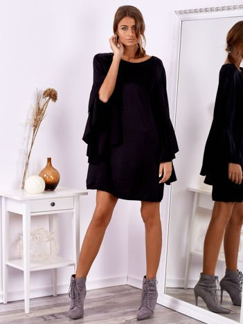 SCANDEZZA Czarna sukienka z hiszpańskimi rękawami