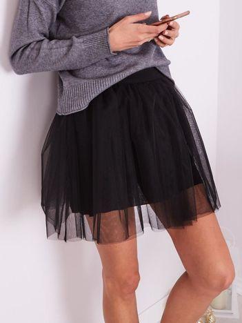 SCANDEZZA Czarna tiulowa spódnica mini