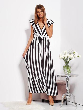 SCANDEZZA Czarno-biała sukienka maxi w paski z kopertowym dekoltem