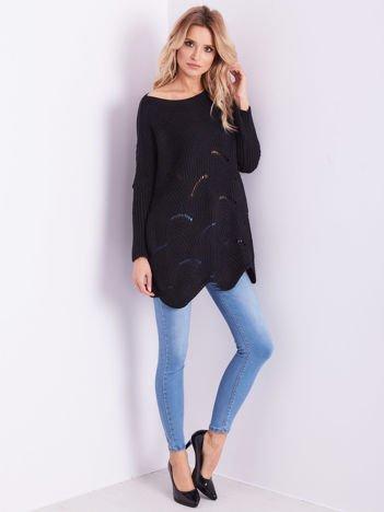 SCANDEZZA Czarny luźny sweter z ażurowaniem