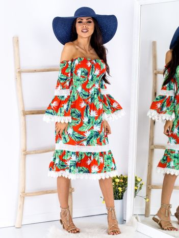 SCANDEZZA Czerwono-zielona wzorzysta sukienka w roślinne wzory