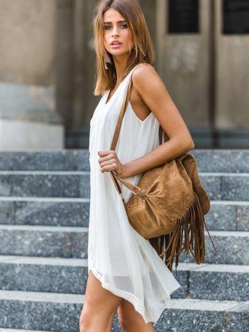 SCANDEZZA Ecru sukienka z cekinowym wykończeniem