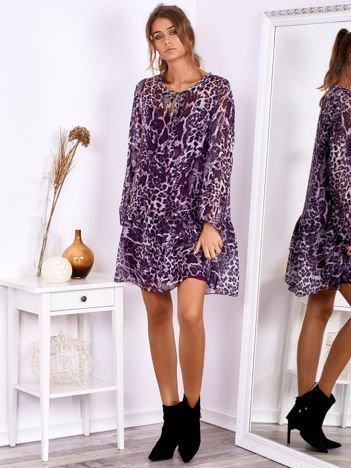 SCANDEZZA Fioletowa sukienka w panterkę z jedwabiem