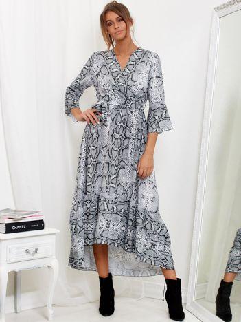 SCANDEZZA Jasnoszara sukienka maxi z nadrukiem snake skin