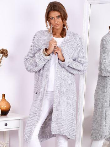 SCANDEZZA Jasnoszary długi otwarty sweter z kieszeniami