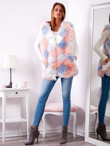 SCANDEZZA Niebiesko-różowa futrzana kamizelka