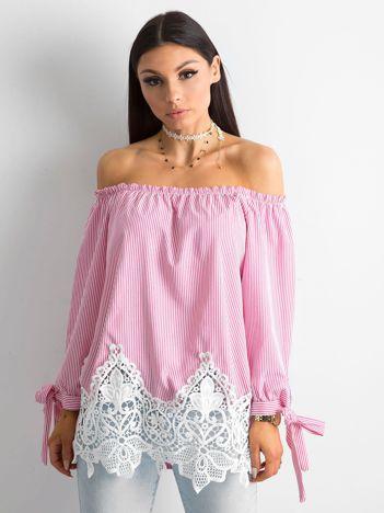 SCANDEZZA Różowa bluzka hiszpanka w paski