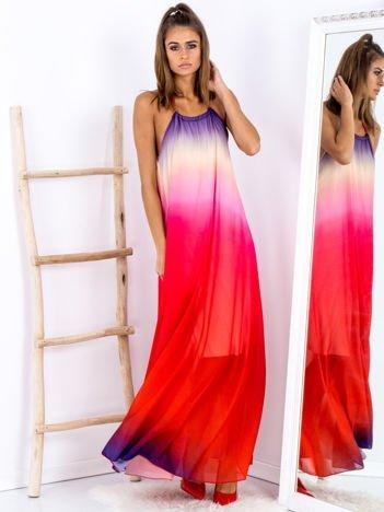SCANDEZZA Różowa długa sukienka wiązana na szyi