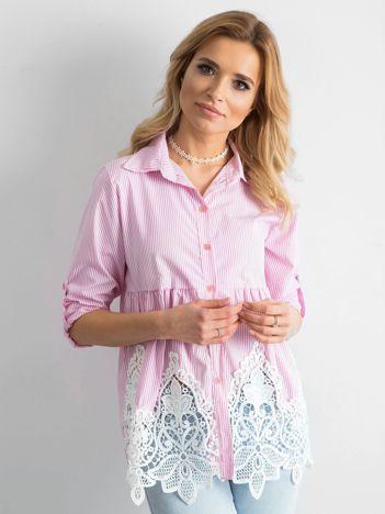 SCANDEZZA Różowa koszula w paski