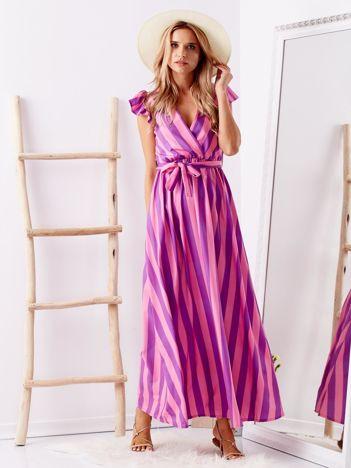 SCANDEZZA Różowa sukienka maxi w paski