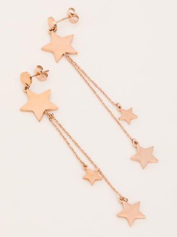 SCANDEZZA Różowe Złoto Kolczyki Gwiazdy STAR