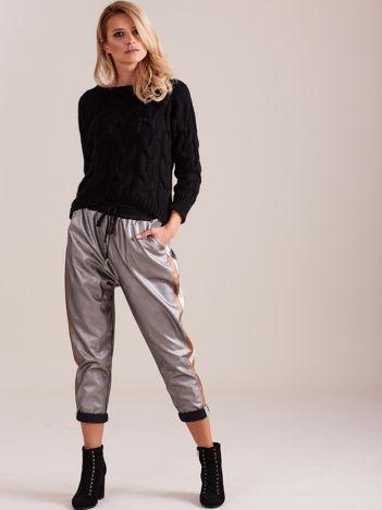 SCANDEZZA Srebrne skórzane spodnie