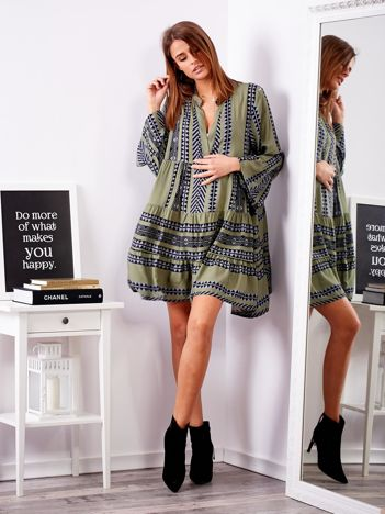 SCANDEZZA Zielona sukienka we wzory