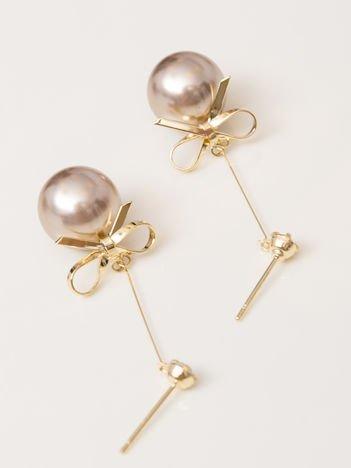 SCANDEZZA  Złote kolczyki damskie perły z kokardą
