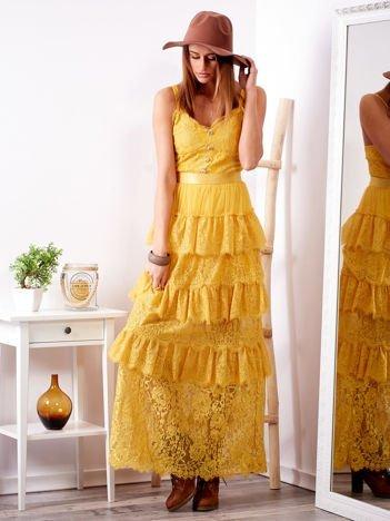 SCANDEZZA Żółta sukienka z falbanami