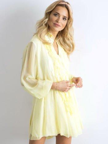 SCANDEZZA Żółta sukienka z żabotem
