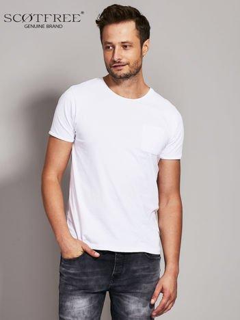 SCOTFREE Biały t-shirt męski z kieszonką