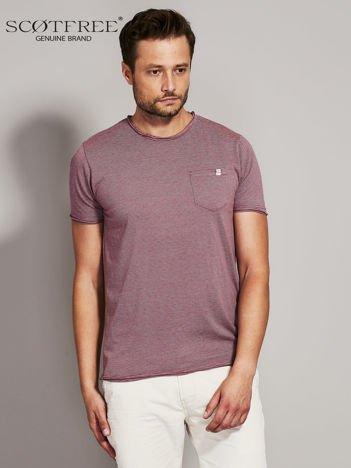 SCOTFREE Bordowy t-shirt męski w drobne paski