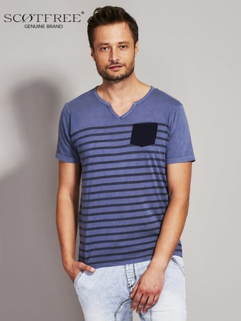 SCOTFREE Ciemnoniebieski t-shirt męski w paski