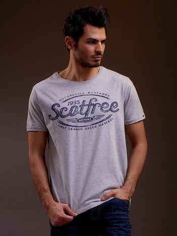 SCOTFREE Szary t-shirt męski z tekstowym nadrukiem