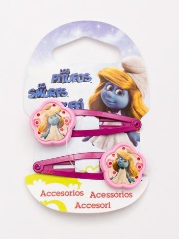 SMERFY Zestaw 2 szt. różowych spinek do włosów dla dziewczynki