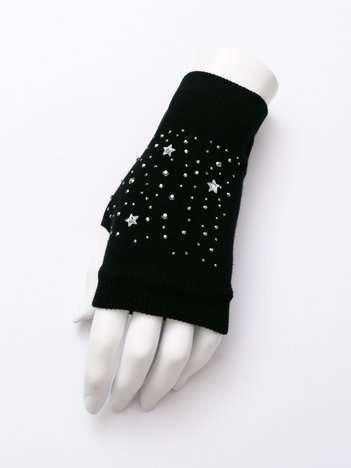 STARS Czarne rękawiczki mitenki z aplikacją
