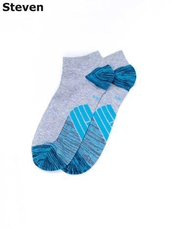 STEVEN Krótkie skarpety męskie szaro-niebieskie ze wzorem