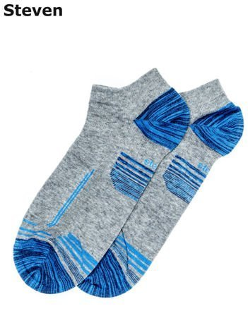 STEVEN Krótkie sportowe skarpety męskie szaro-niebieskie