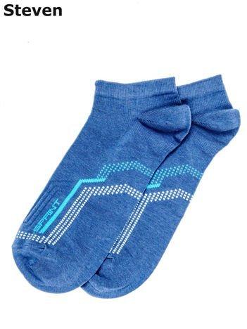 STEVEN Niebieskie bawełniane skarpety męskie