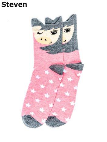 STEVEN Różowo-szare skarpety dziewczęce z kucykiem i gwiazdami