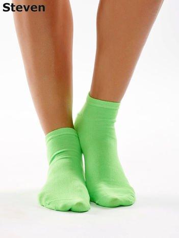 STEVEN Zielone gładkie krótkie skarpety stopki