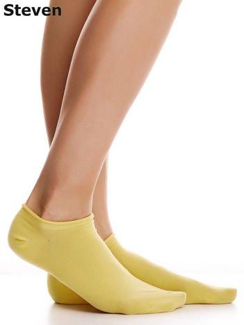 STEVEN Żółte gładkie stopki bawełniane