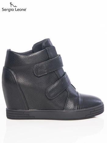 Sergio Leone czarne Sneakersy z ozdobnym zapięciem na rzepy