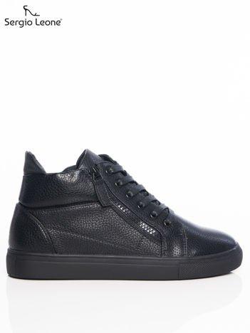 Sergio Leone czarne buty sportowe z ozdobnym suwakiem na boku