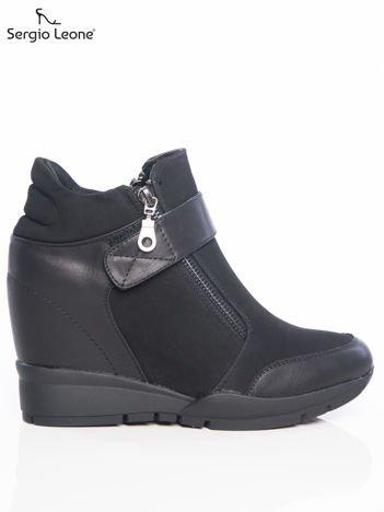 Sergio Leone czarne gładkie sneakersy z suwakiem i zapięciem na rzep Sergio Leone