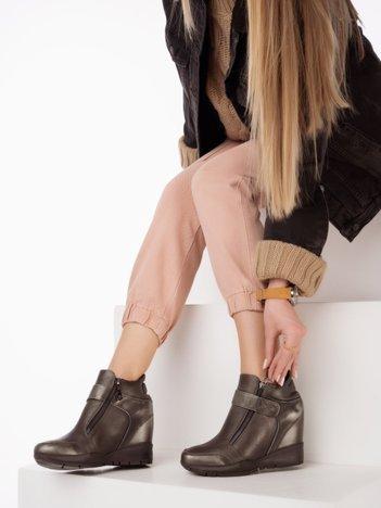 Sergio Leone czarno-srebrne przecierane sneakersy z suwakiem i zapięciem na rzep