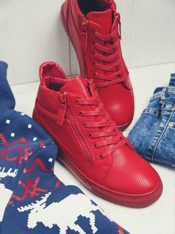 Sergio Leone czerwone buty sportowe z ozdobnym suwakiem na boku
