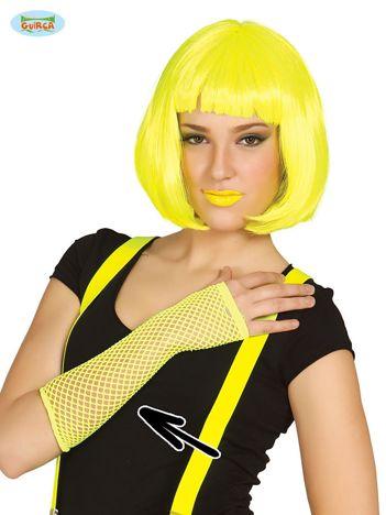 Siatkowe rękawiczki fluo żółte