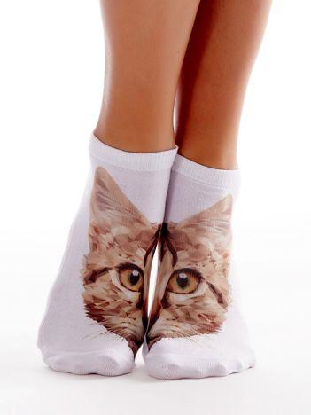 Skarpety damskie stopki z nadrukiem kota