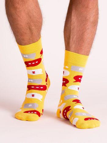 Skarpety męskie z nadrukiem żółte