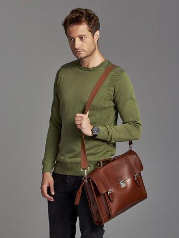 Skórzana torba aktówka męska z paskami ciemnobrązowa