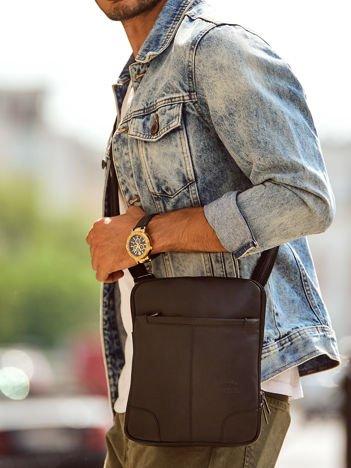 Skórzana torba męska czarna z regulowanym paskiem