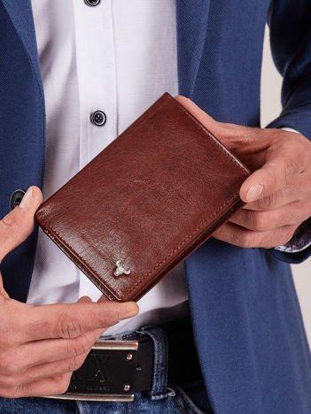 Skórzany brązowy męski portfel