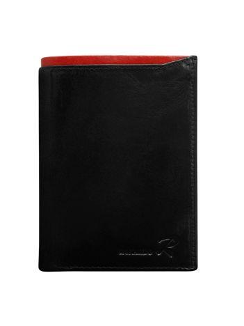 Skórzany portfel dla mężczyzny czarny z czerwonym wykończeniem