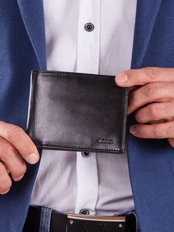 Skórzany portfel męski bez zapięcia czarny